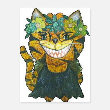 Cat Flower Funny flower cat watercolor - Poster