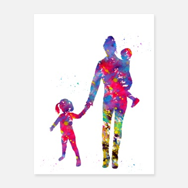 Children Mother with her children - Poster