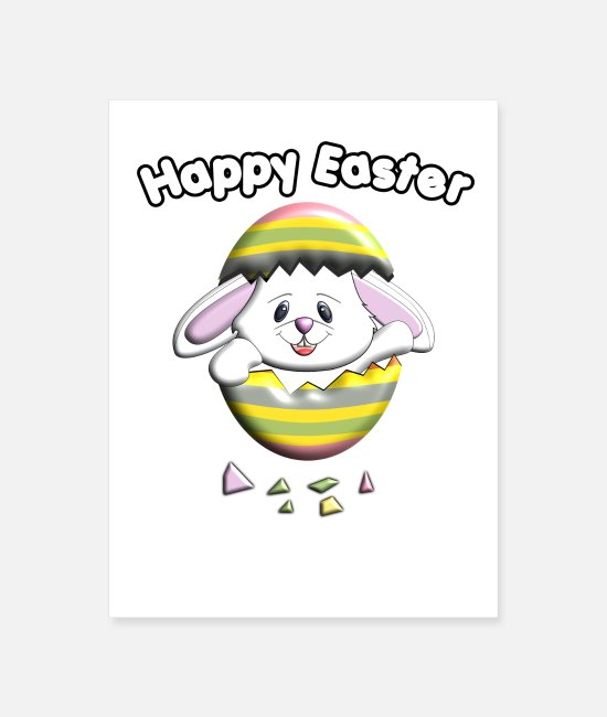 Easter Posters - Happy Easter Bunny Egg - Poster white