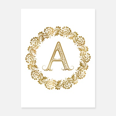 Greek Letters A initial floral - Poster