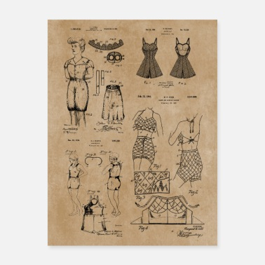 Swimming Trunks Vintage Patent Prints - Fashion Bathing Suit - Poster
