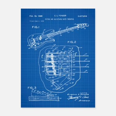 Bassist 1969 Bass Guitar Patent Blueprint - Poster