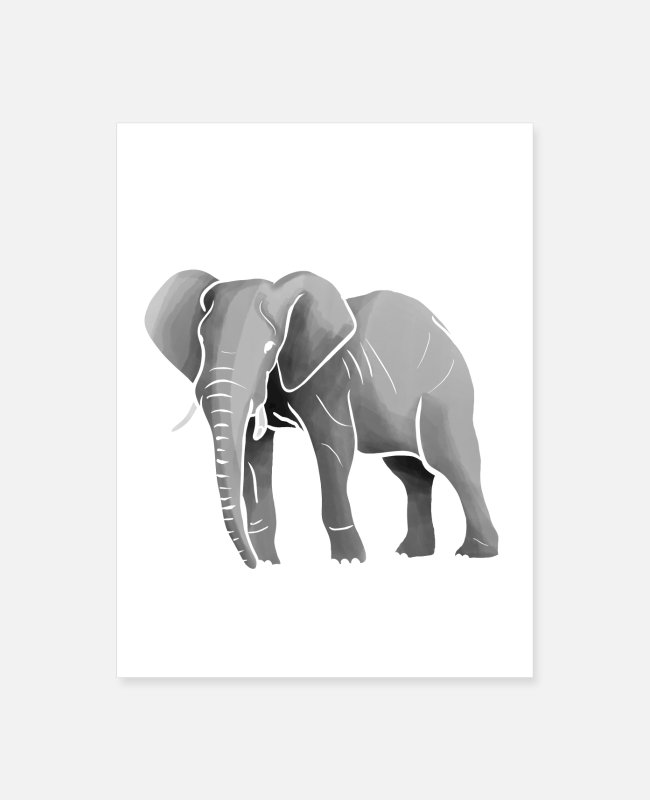 Graphics Posters - grey elephant - Poster white