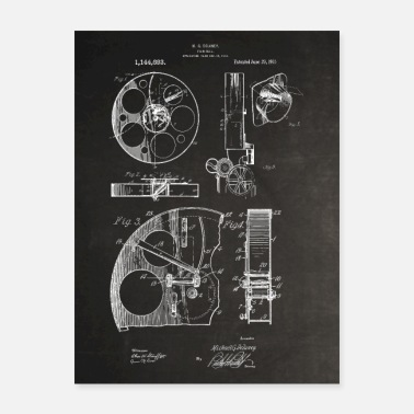 Motion Motion Picture Film Reel Patent 1915 Chalkboard - Poster