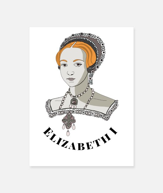 Red Head Posters - Queen Elizabeth I of England - Poster white