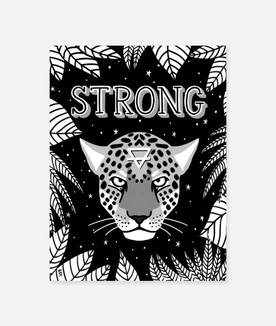 Wild Cat Posters - Strong Jaguar poster in black and white - Poster white