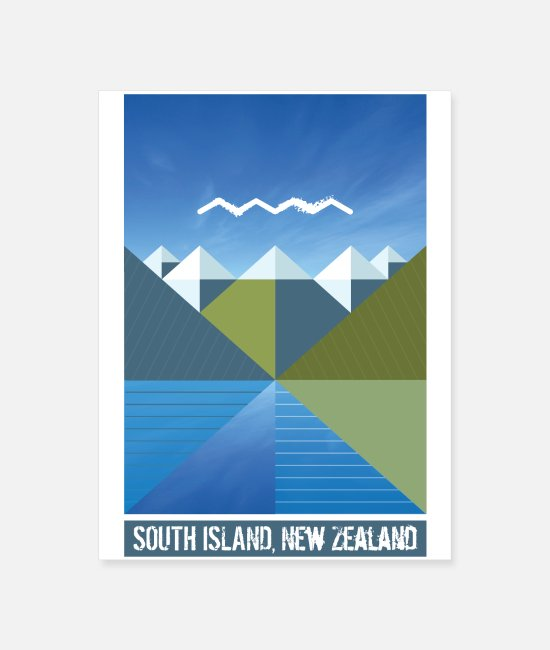 Tourism Posters - NEW ZEALAND SOUTH ISLAND - Poster white