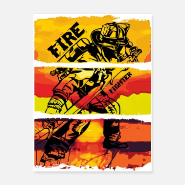 Firefighter fight against a fire. - Poster