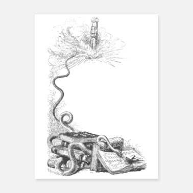Scenery Snake on a book in a surreal scenery - Poster