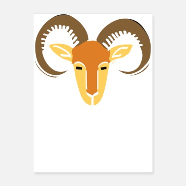 Head Coach Sheep Goat head pictoglyph vectorized copy - Poster