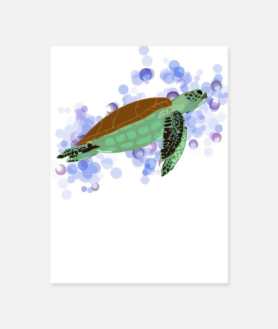Water Posters - Sea Turtle - Poster white
