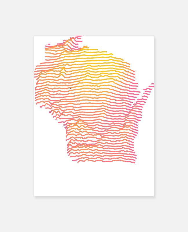 Artist Posters - Wisconsin Map Art - Poster white