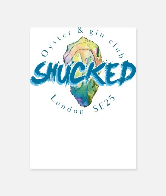 Cute Posters - Shucked London oyster gin - Poster white
