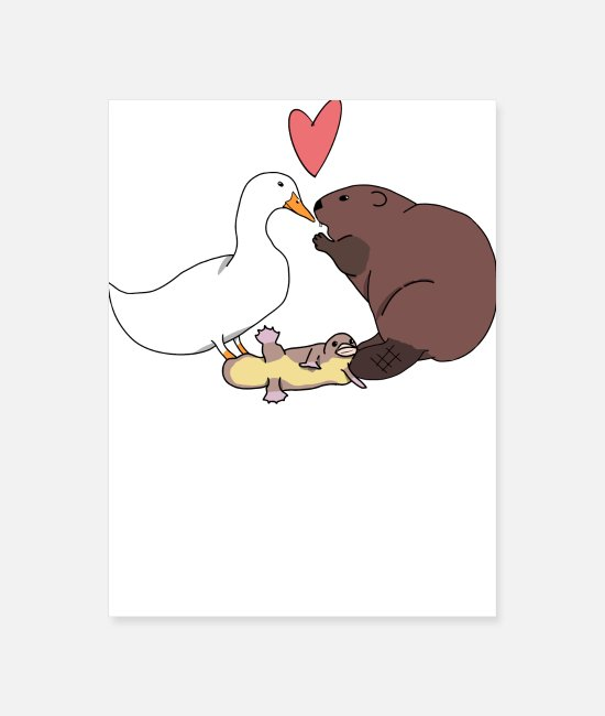 Heart Posters - The first platypus vectorized copy - Poster white