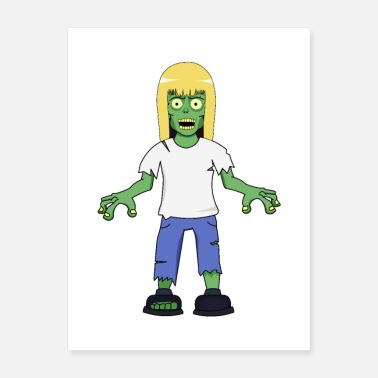 Blonde Zombie Girl with Blonde Hair - Poster