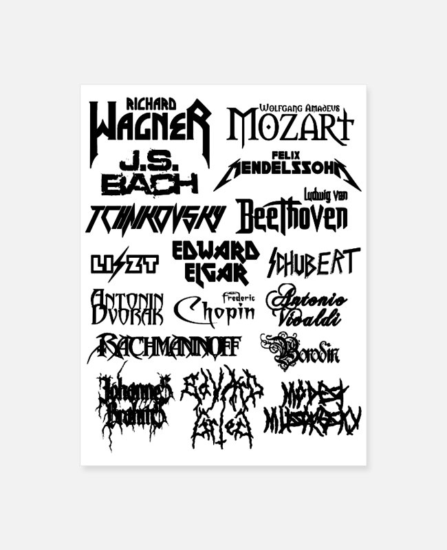 Composer Posters - Heavy Metal style Classical Composers - Poster white