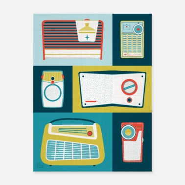 Bright Colors Vintage Radios Illustration Bright Colors - Poster
