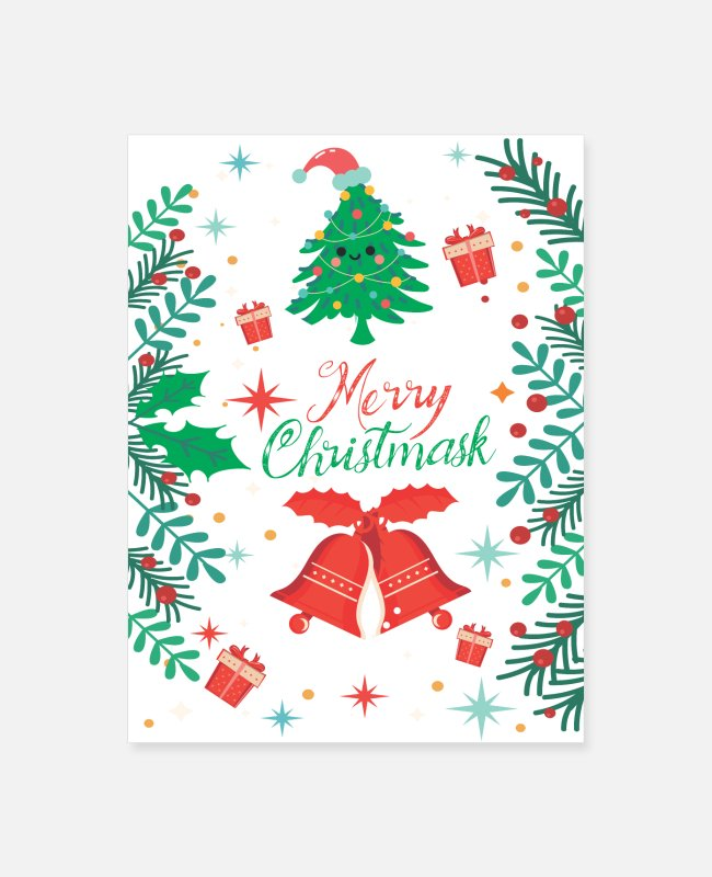 Christmas Posters - Merry Christmask For Women - Poster white