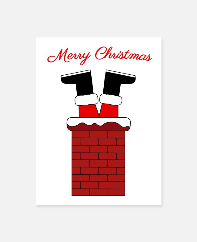 Christmas Posters - Santa stuck in a chimney - Poster white