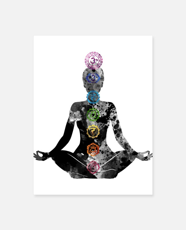 Throat Posters - Meditating Woman with Chakras - Poster white