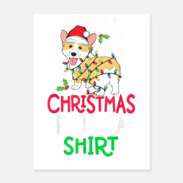 Xmas Tree Corgi Tree Light Dog Xmas - Poster
