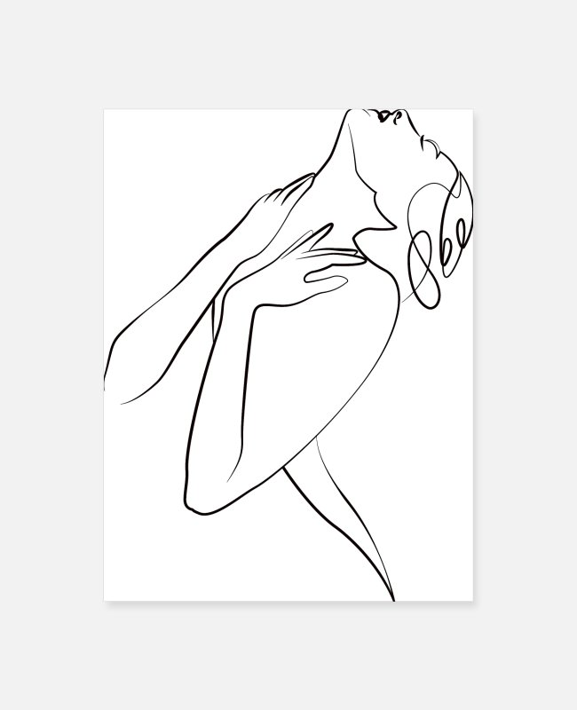 Art Simple Posters - lady flower one line sensuAL - Poster white