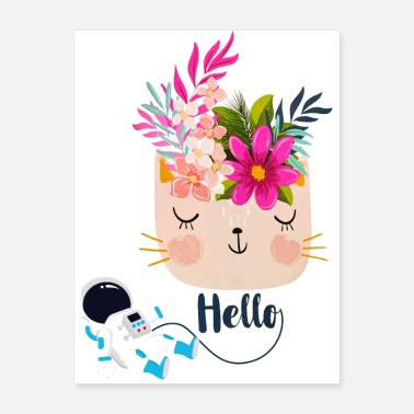 Cat Flower Space Cat Hello Watercolor Flowers - Poster