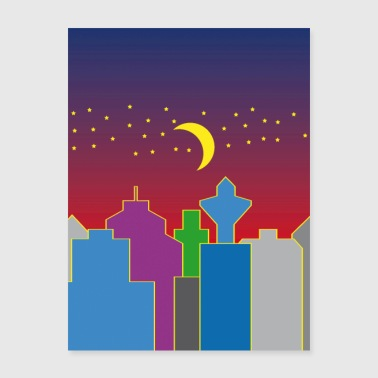 colorful city at night with moon and stars - Poster 18x24