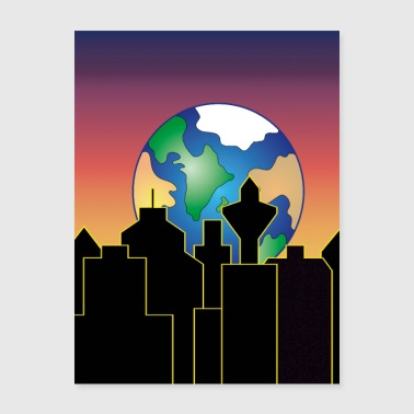 rising earth over the city skyline at night - Poster 18x24