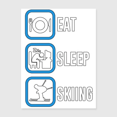 Eat Sleep Skiing - Swimming - Total Basics - Poster 18x24