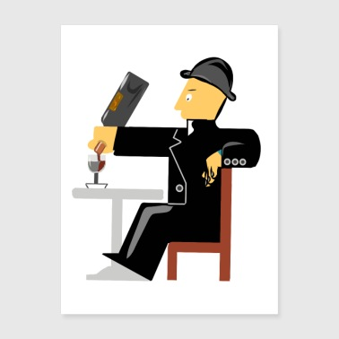 A man drinking red wine - Poster 18x24