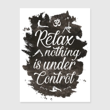 Yoga relax lettering poster , om symbol . - Poster 18x24