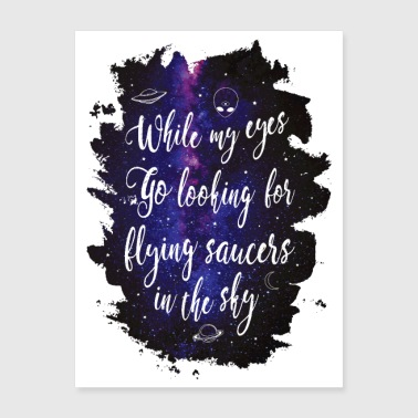 UFO Flying saurcers lettering - Poster 18x24
