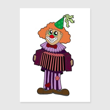 Clown Playing Accordian Poster - Poster 18x24