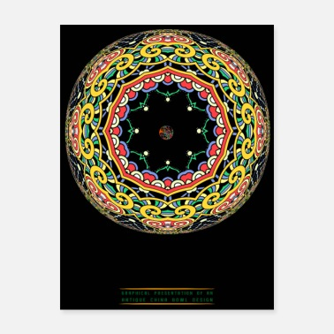 3D China Bowl Art Color Poster - Poster 18x24