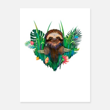 Sloth Happy Sloth in The Jungle - Poster