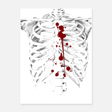 Gore Halloween Skeleton With Blood - Poster