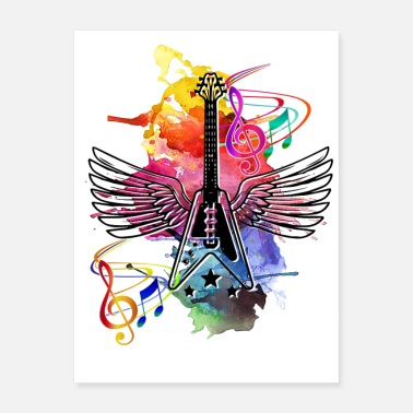 Stagediving Winged guitar - Poster