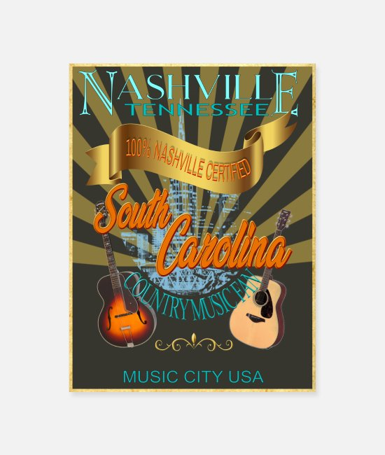 Poster Posters - South Carolina Country Music Fan Wall Poster - Poster white