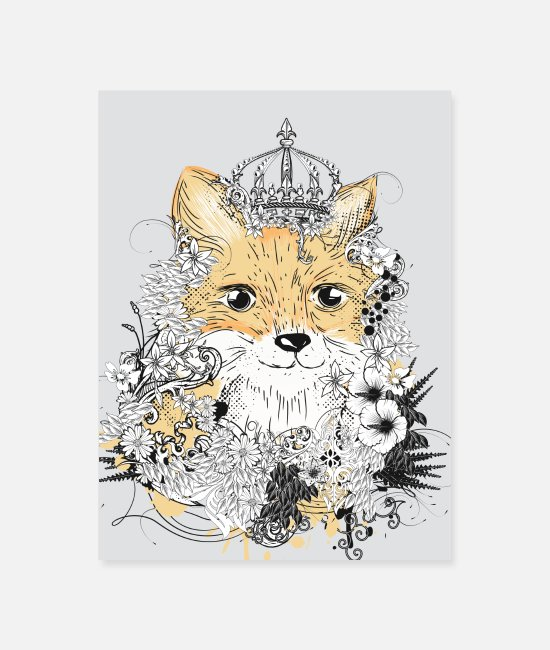 Cute Posters - small fox with a floral crown - Poster white