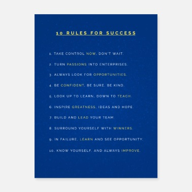 Motivational Colorful Motivation - 10 RULES FOR SUCCESS - Poster