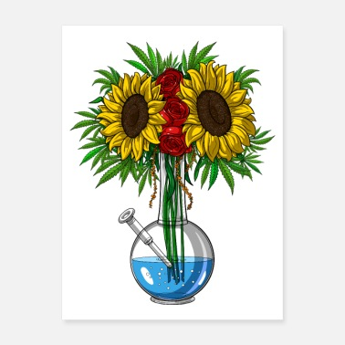 Bong Weed Sunflowers Bong Vase - Poster