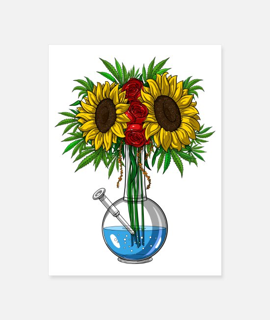 Nature Posters - Weed Sunflowers Bong Vase - Poster white