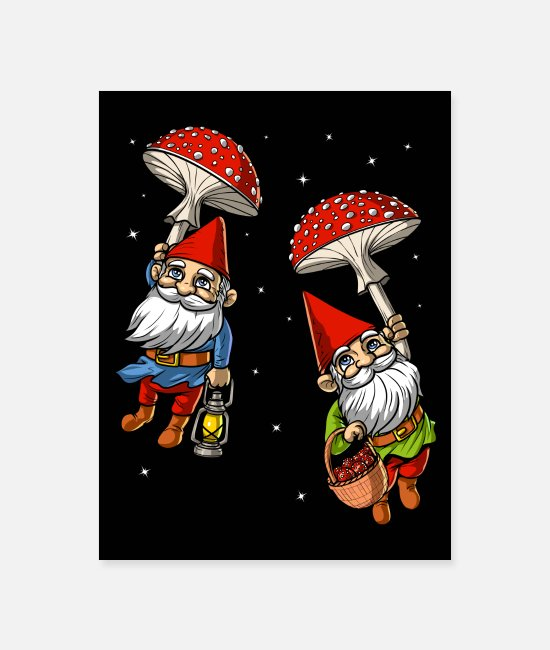 Trippy Posters - Magic Mushrooms Gnomes Trip - Poster white