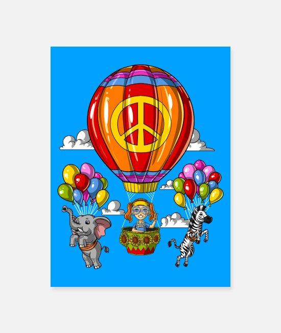 Festival Posters - Hippie Air Balloon Trip - Poster white