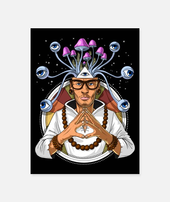 Trippy Posters - Magic Mushrooms Shaman - Poster white