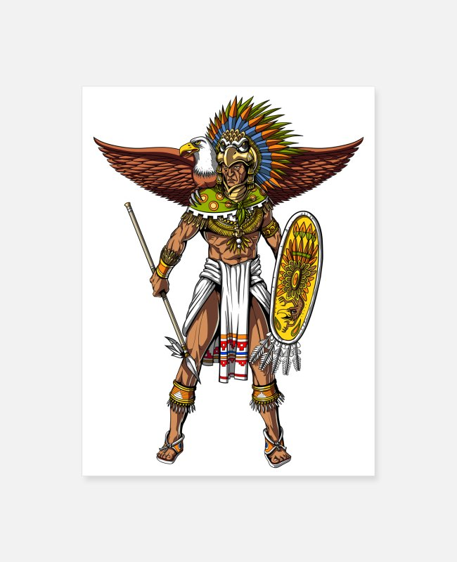 Aztec Civilization Posters - Aztec Eagle Warrior - Poster white