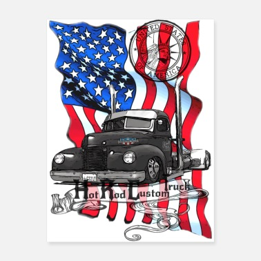 V8 Hot Rod V8 Custom Truck United States - Poster