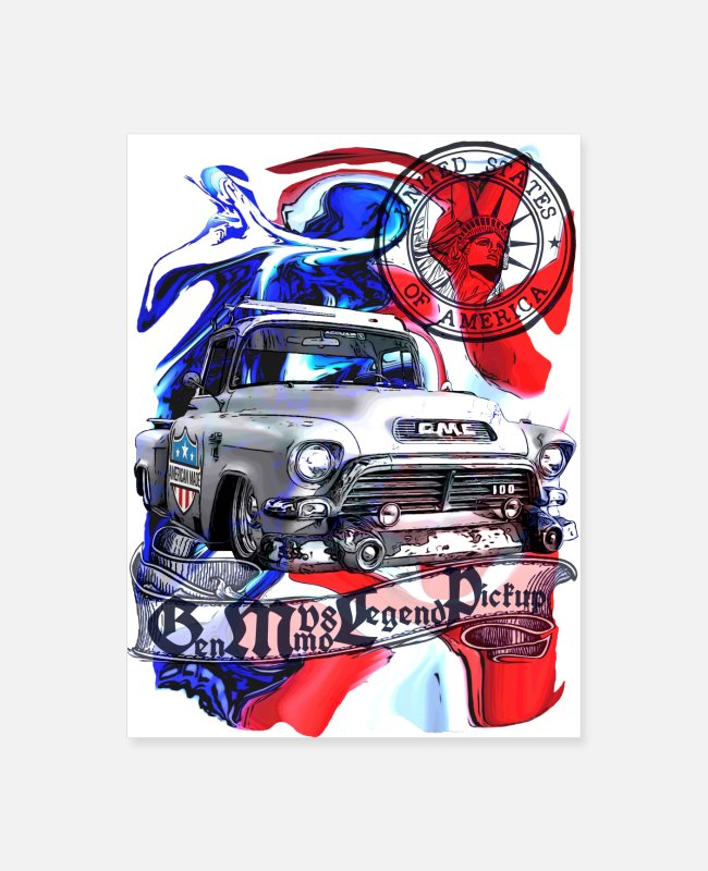 Trucks Posters - Low fast V8 legend Pickup United States colorful - Poster white