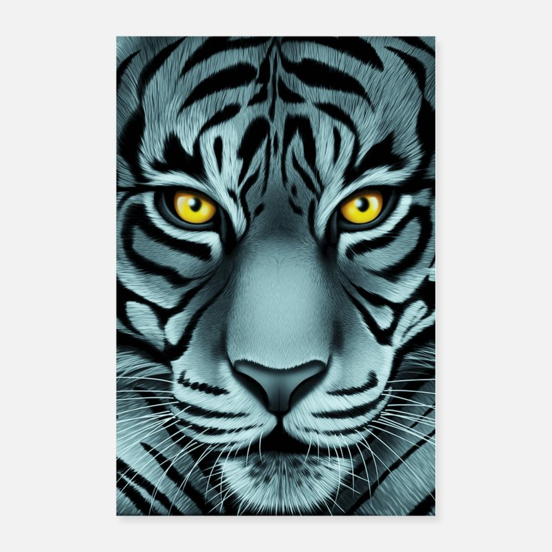 Black Posters - Stunning White Face Tiger - Posters white
